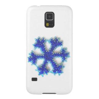 Blått pryder med pärlor snowflaken galaxy s5 fodral