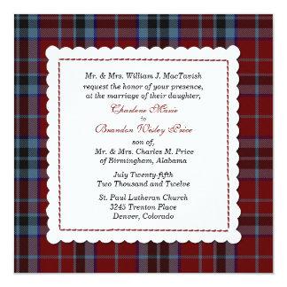 Blått & röd personligt bröllp för MacTavish Fyrkantigt 13,3 Cm Inbjudningskort