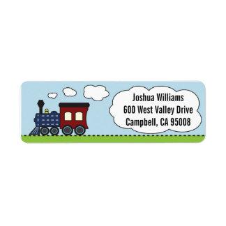 Blått/röd tågadressetiketter returadress etikett