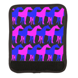 Blått rosa hästar/svart bakgrund handtagsskydd