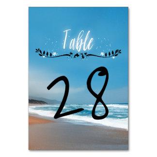 Blått sätter på land nyckfullt bröllop bordsnummer