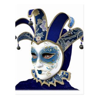 Blått som Venetian Carnivale maskerar profilerar Vykort