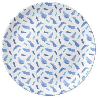 """Blått Spots 10,75"""" dekorativt porslin pläterar"""