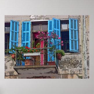 Blått stänger med fönsterluckor poster