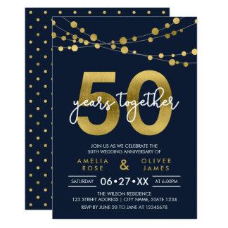 Blått stränger av bröllopsdag för ljus 50th 12,7 x 17,8 cm inbjudningskort