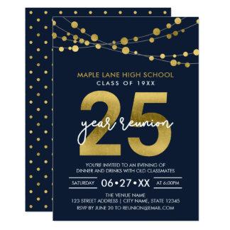 Blått stränger av ljus som 25 år skolar möte 12,7 x 17,8 cm inbjudningskort