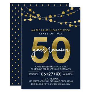 Blått stränger av ljus som 50 år skolar möte 12,7 x 17,8 cm inbjudningskort