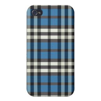 Blått svart pläd Pern iPhone 4 Skydd