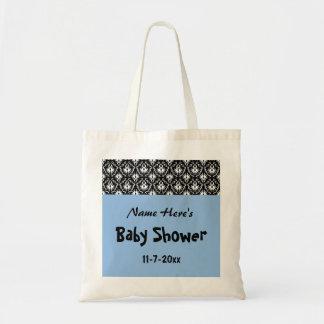 Blått svartvit damastast baby shower kassar