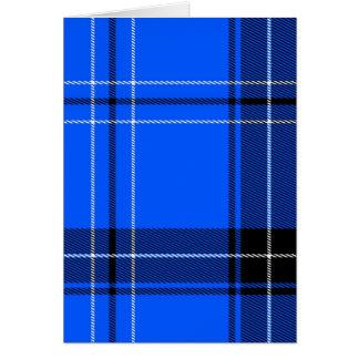 Blått vävt tartanmönster OBS kort
