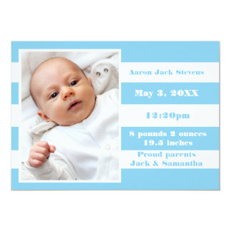Blått- & vitrand - födelsemeddelande 12,7 x 17,8 cm inbjudningskort
