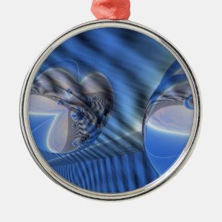 Blåttabstraktdesign Rund Silverfärgad Julgransprydnad