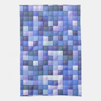 Blåttbadrummen belägger med tegel kvadrerar mönste kökshandduk