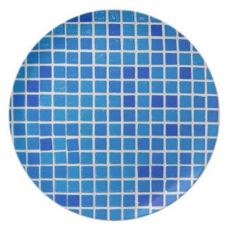 blåttbadrummen belägger med tegel pläterar tallrik