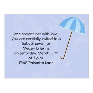 Blåttbakgrund med paraplybaby shower Invitati Vykort