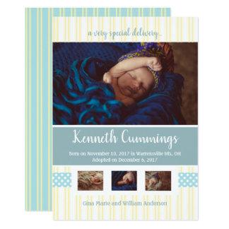 Blåttbarnkammare görar randig adoptionmeddelande 12,7 x 17,8 cm inbjudningskort