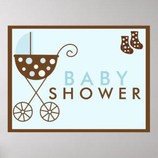 Blåttbarnvagnbaby shower undertecknar