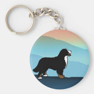 BlåttbergBernese hund Rund Nyckelring