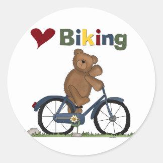 Blåttcykeln älskar jag att cykla Tshirts och gåvor Runt Klistermärke