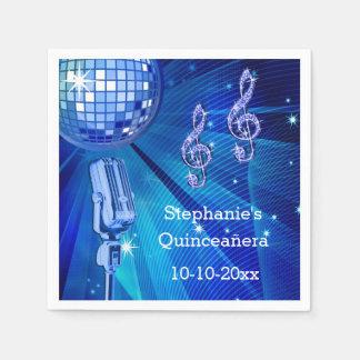 Blåttdiskoboll och Retro mikrofon Quinceañera Pappersservett