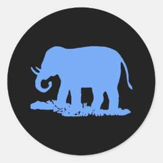 Blåttelefant Runt Klistermärke