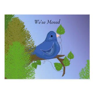 Blåttfågel på en ny adress gren vykort