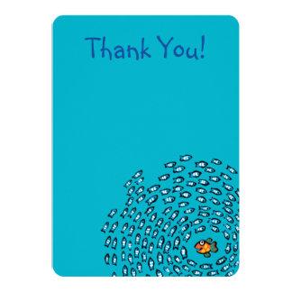 Blåttfisken skolar mönster med den små orange 12,7 x 17,8 cm inbjudningskort