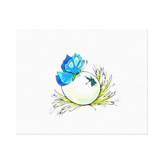 blåttfjäril på vit egg.png canvastryck