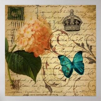 blåttfjärilen paris skrivar botanisk fransk poster