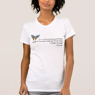 BlåttfjärilsT-tröja med inspirera citationstecken Tee Shirts