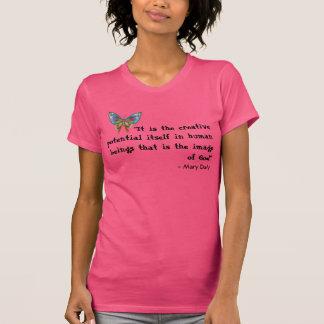 BlåttfjärilsT-tröja med inspirera citationstecken Tröjor