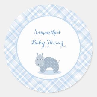 Blåttflodhäst, pläd, baby shower runda klistermärken