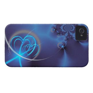 BlåttFractal med neonhjärtor Case-Mate iPhone 4 Case