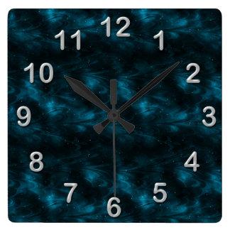 Blåttfractalen kvadrerar väggen tar tid på fyrkantig klocka