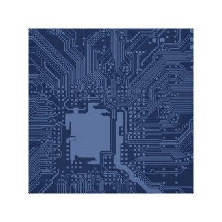 BlåttGeekmoderkortet går runt mönster Canvastryck