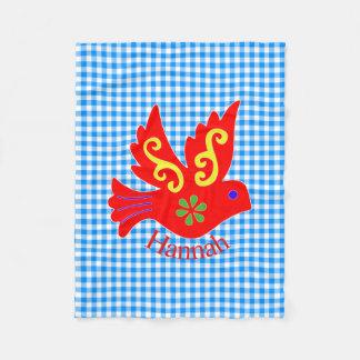 BlåttGingham och röd fågelullfilt Fleecefilt