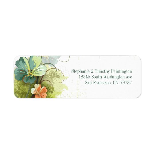 Blåttgrönt + för bröllopadress för persika blom- e returadress etikett