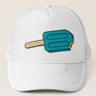 Blåtthallonpopsiclen biter mig hatten (vit) truckerkeps