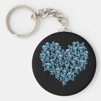 Blåtthjärta av döskallar rund nyckelring