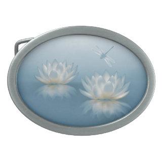 Blåttlotusblommar och det ovala bältet för slända