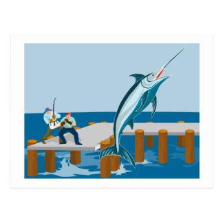 Blåttmarlinbanhoppning med fiskaren vykort