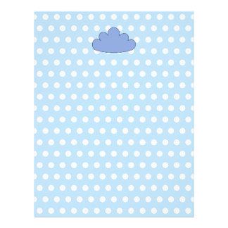 Blåttmoln på blått- och vitPolkaprickar Reklamblad