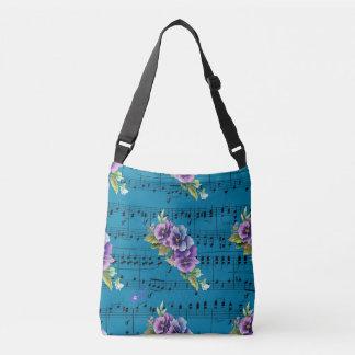 Blåttnotbladlilor & blåa blommor axelväska