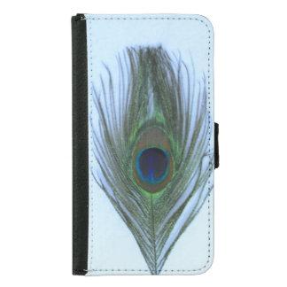 Blåttpåfågelfjäder på vit plånboksfodral för samsung galaxy s5