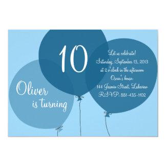 Blåttpartyet sväller barns födelsedaginbjudan 12,7 x 17,8 cm inbjudningskort