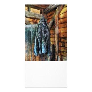 Blåttplädjacka i kabin anpassade foto kort