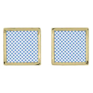 Blåttpolka dots med anpassadebakgrund guldpläterade manschetterknappar