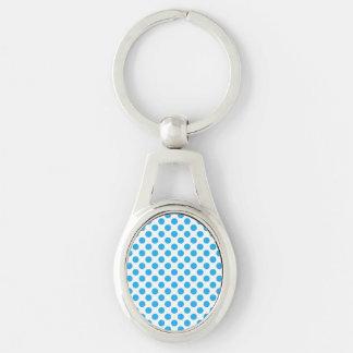 Blåttpolka dots ovalt silverfärgad nyckelring