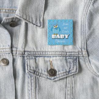 Blåttpolkaen pricker baby showertema för uggla | standard kanpp fyrkantig 5.1 cm