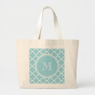 BlåttQuatrefoil mönster, din Monogram Tote Bags